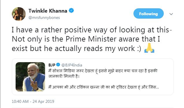 Image result for narendra modi twitter screenshot of twinkle khanna