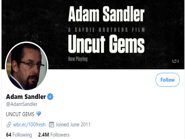 Adam Sandler's Twitter page went haywire starting from 5:34 PM (local time) (Picture Courtesy: Twitter)