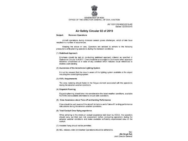 Air Safety Circular issued by DGCA on Tuesday. Photo/DGCA release