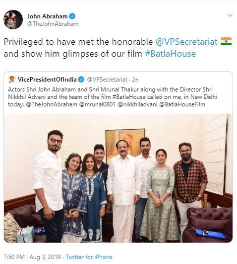 Batla House' screened for Vice President Venkaiah Naidu