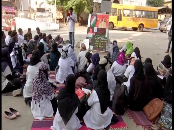 The doctors of the Nizamia Tibbi College have been protesting against Citizenship Amendment Act (CAA) and National Register of Citizens (NRC) for 30 days. Photo/ANI