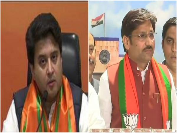BJP leaders Jyotiraditya Scindia (l) and Sumer Singh Solanki