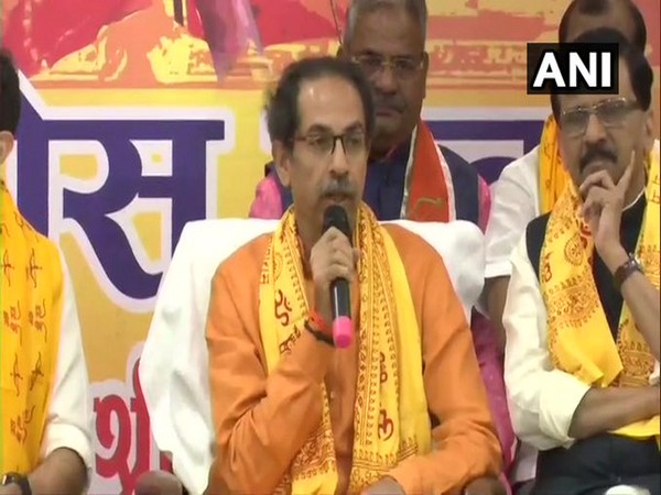 Maharashtra CM Uddhav Thackeray speaking at an event in Ayodhya on Saturday.