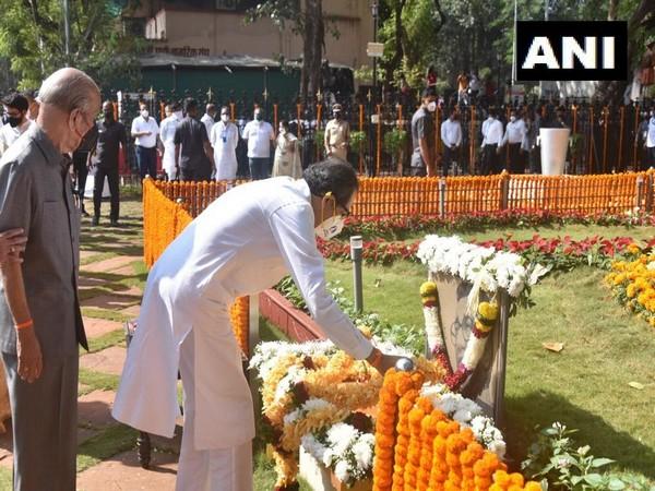 CM Uddhav Thaceray paying homage to Bal Thackeray At Shivaji Park