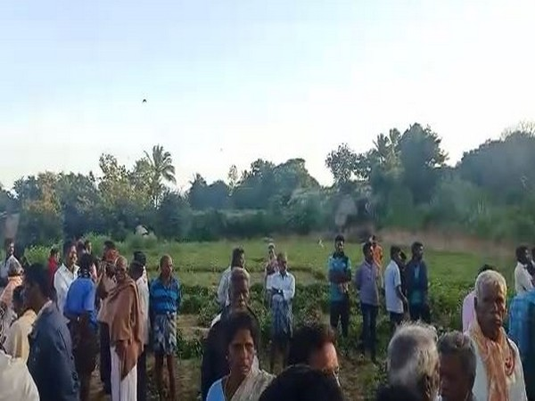 Villagers gathered at the site of the attack. [Photo/ANI]