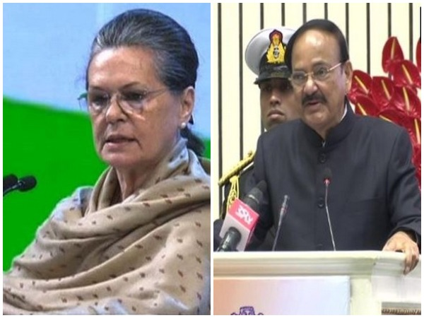 Congress interim President Sonia Gandhi and Vice President of India Venkaiah Naidu