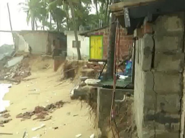 Around 15  houses suffered severe damages in Ullal city of Mangaluru due to tidal waves on Thursday. (Photo/ANI)