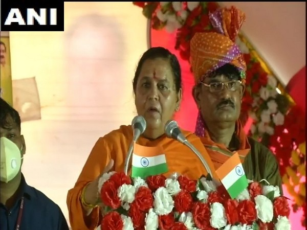 BJP leader Uma Bharti addressing public gathering in Bhind on Monday. (Photo/ANI)