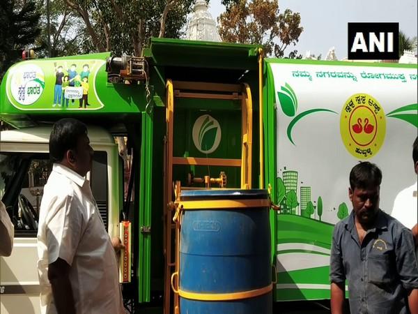 A man in Karnataka's Hubli developed a disposal system with an underground dustbin. (Photo/ANI)