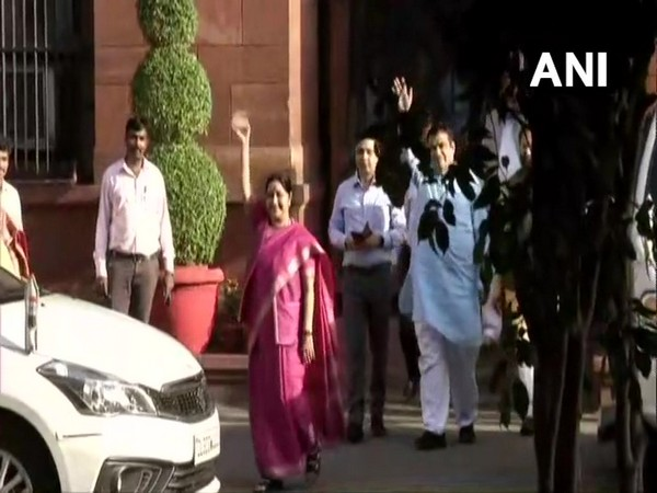 Union Ministers leave after the Union Cabinet meeting concluded in Delhi.