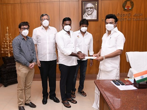 On behalf of Mr. Subaskaran, Lyca Productions' CEO, Tamilkumaran, Director, Niruthan, and Gaurav, handed over a cheque for Rs. 2 crores to CM of TN Mr. MK Stalin, in the presence of Udhayanidhi Stalin