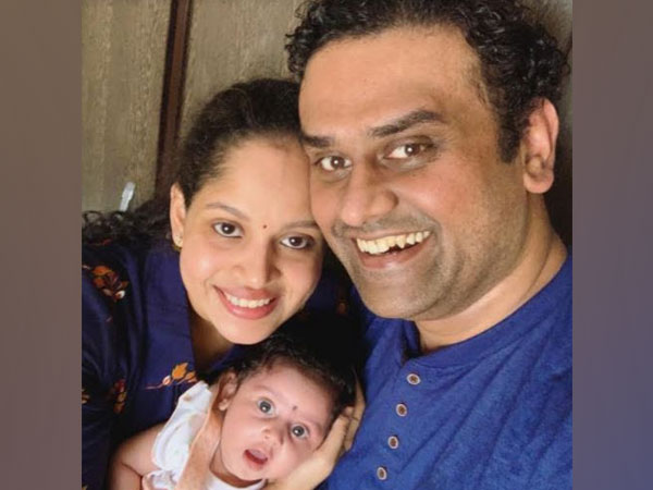 Teera Kamat with her parents Priyanka and Mihir Kamat