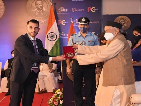 Adel Bhinder being felicitated by Bhagat Singh Koshyari