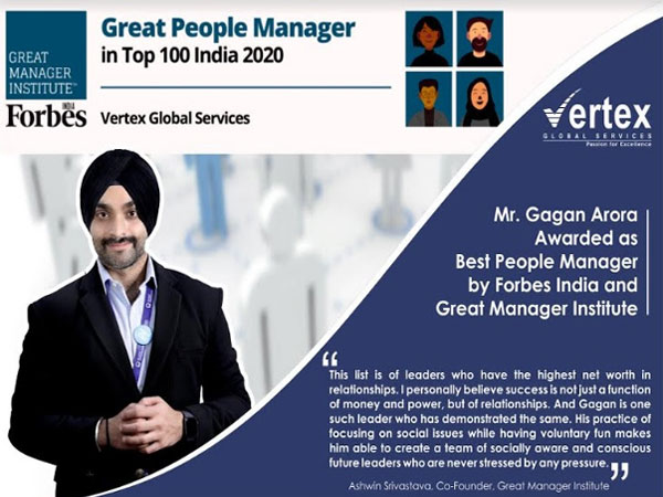 Vertex Global Services awarded as Best People Manager by Forbes India and Great Manager Institute