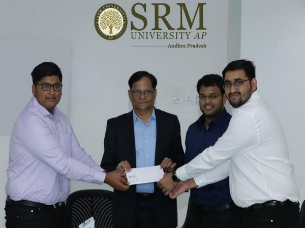 L to R: Sourav Sanyal, Prof. V S Rao - Vice Chancellor SRM AP, Miran Junaidi, Saurabh Ghaneker