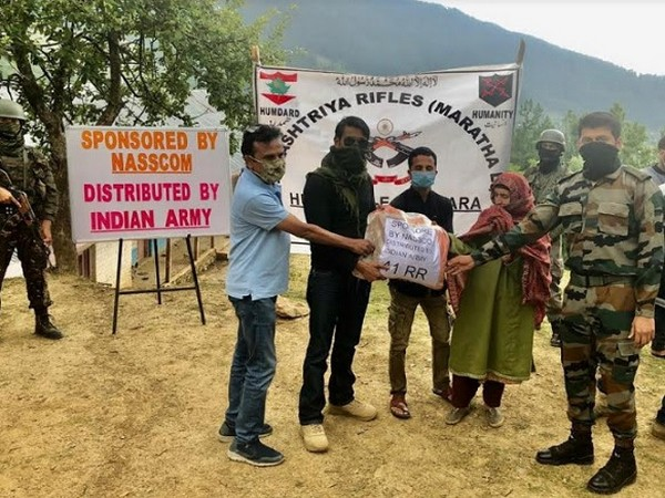 Major Pradeep Arya distributing the essential kit at Kupwara