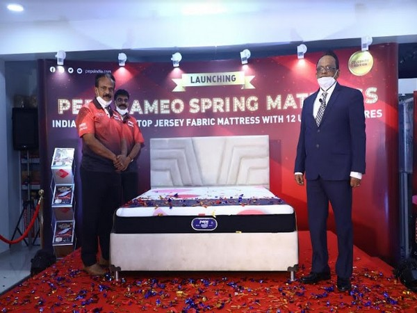 Unveiling of Peps Cameo Mattress by K Madhavan, Suresh Babu and TG Manjunath