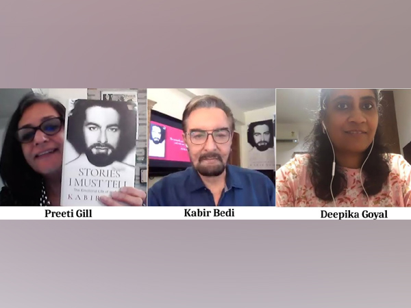 Preeti Gill, Kabir Bedi and Deepika Goyal at a live session of Write Circle organised by Prabha Khaitan Foundation