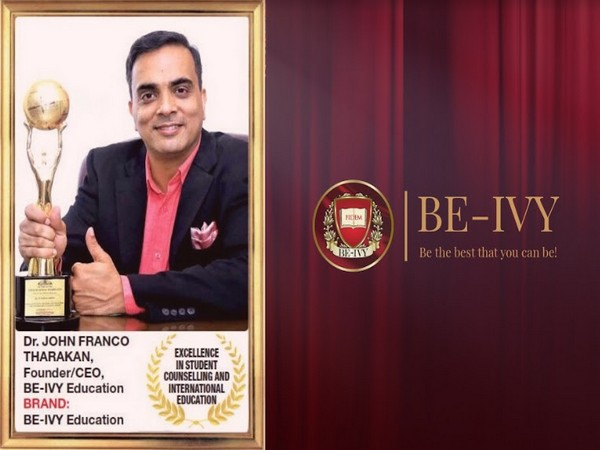 Dr John Franco Tharakan, Founder & CEO, Be-Ivy Education with Times Business Award for Excellence in Student Counselling & International Education