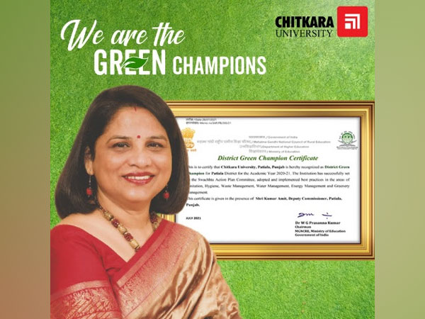 Chitkara University recognised as District Green Champion by Government of India