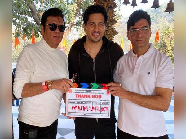 "At Muhurat Ceremony of Film ""Thank God"", From Left to Right Markand Adhikari, Siddharth Malhotra and Indra Kumar"