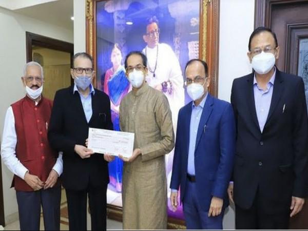 Gautam E. Thakur, Chairman handed over cheque to Chief Minister of Maharashtra, Uddhavji Thackeray along with Shashikant Sakhalkar, Vice Chairman and Kishore Rangnekar, Director