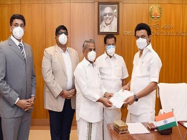 RS Munirathnam, Chairman, RM Kishore, Vice Chairman & Yelamanchi Pradeep, Secretary of RMK Group of Institutions handed over Rs 1.08 Crore to CM of TN MK Stalin recently