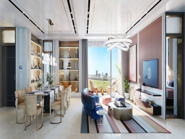 Artist impression of beautifully designed Living room of the Digiselect homes with an exceptional view of the Mahalaxmi racecourse and the Arabian sea from the private sundeck