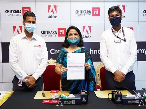 Dr. Madhu Chitkara, Pro Chancellor, Chitkara University at the virtual signing of agreement with Adobe
