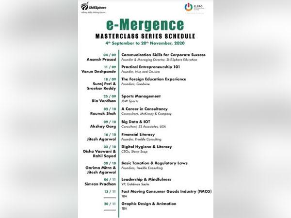Schedule of e-Mergence Masterclass Series