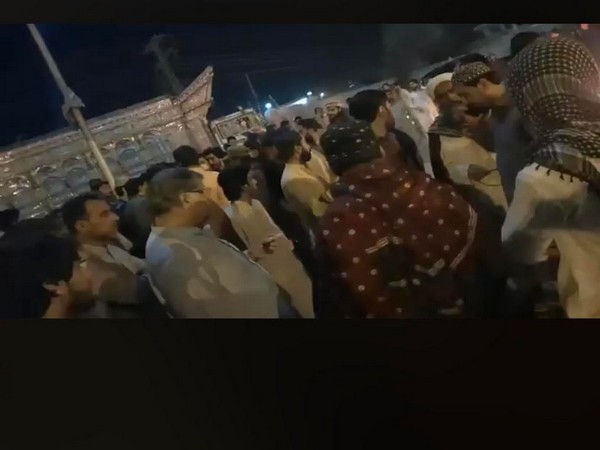 """Angry protesters blocked Sariab Road and chanted slogans against police for what they called """"brutality""""."""