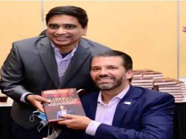 "Bhagi Nanda Sandilya with Donald Trump Jr at the success of the book ""Liberal Priviledge"" at New York"