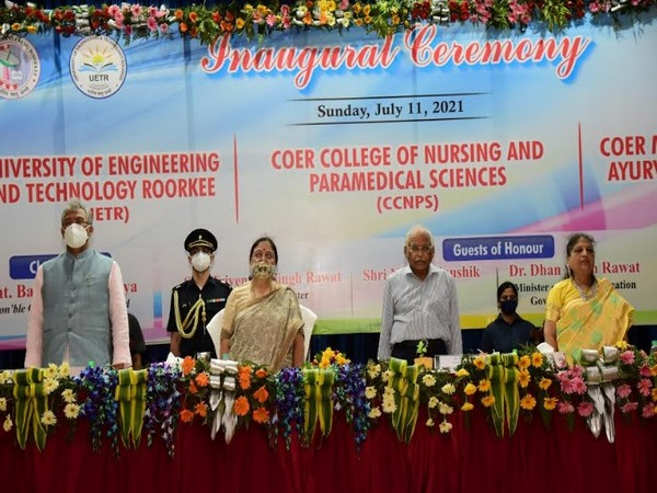 L to R: Former CM UK Sh. Trivendra Singh Rawat, Hon'ble Governor Smt. Baby Rani Maurya, Er. J. C. Jain, Chancellor UETR, Mrs. Sunita Jain, Chairperson, SRLJT