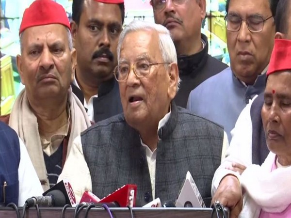 SP Leader Ahmed Hasan talks to media in Lucknow on Monday. (Photo/ANI)