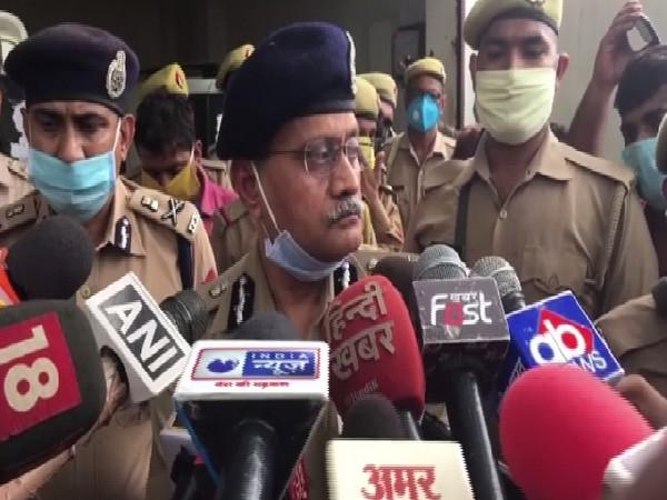 Uttar Pradesh DGP Hitesh Chandra Awasthi speaking to media on Thursday in Kanpur.