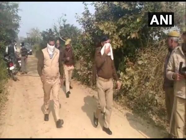 Police at the spot in Sitapur of Uttar Pradesh on Thursday.