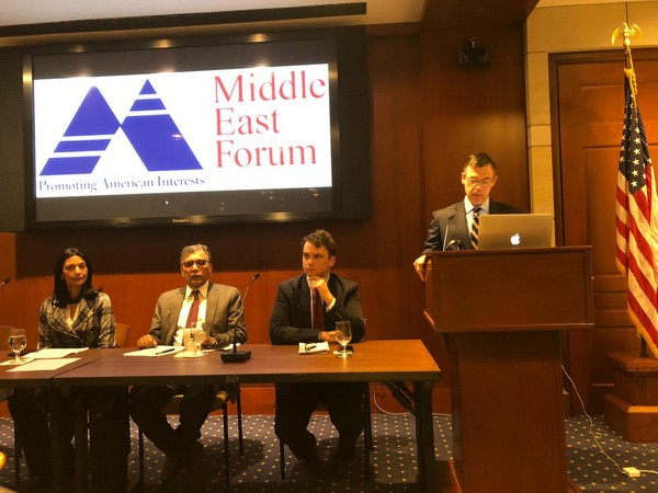 US Congressman Jim Banks addressing a seminar hosted by the Middle East Forum in washington DC on Wednesday