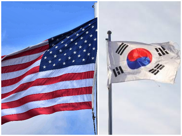 Flags of the United States of America and South Korea