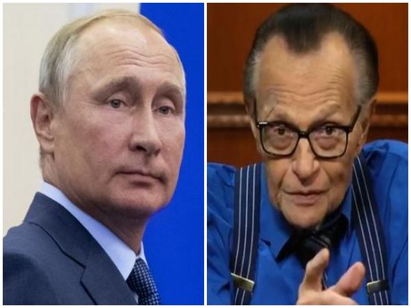 Russian President Vladimir Putin and US talk show Larry King Kremlin