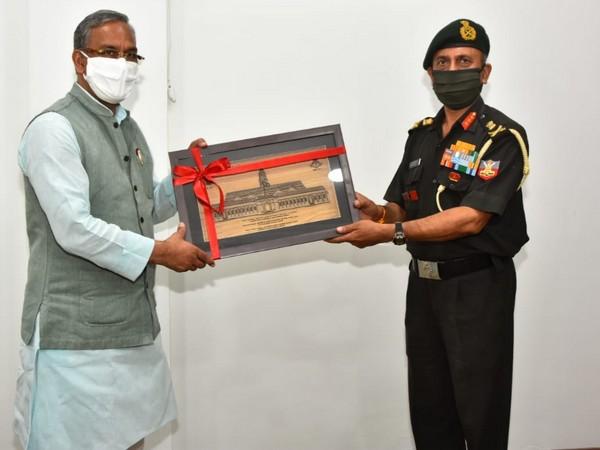 Uttarakhand Chief Minister Trivendra Singh Rawat with IMA Commandant Lt General JS Negi.
