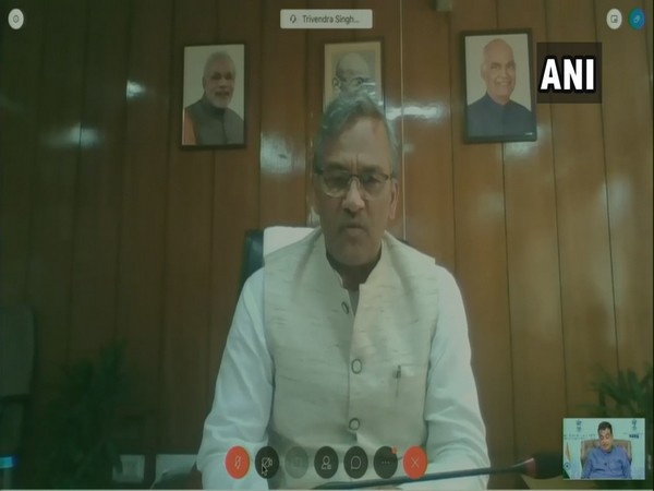 Uttarakhand Chief Minister Trivendra Singh Rawat during video conferencing with MSME Minister Nitin Gadkari