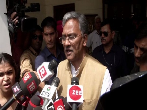 Uttarakhand CM Trivendra Singh Rawat speaking to reporters in New Delhi on Saturday. Photo/ANI