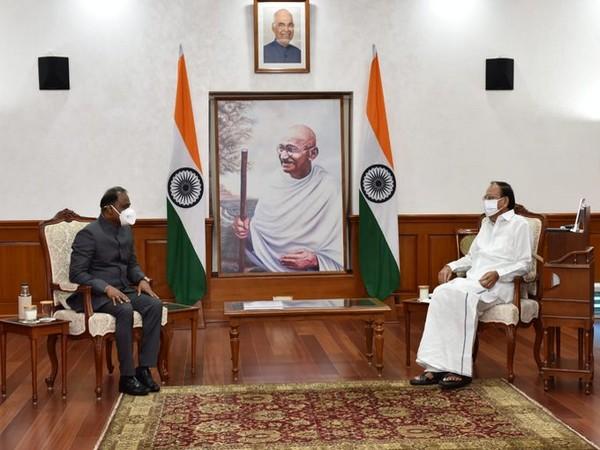 The newly appointed CAG Girish Chandra Murmu called on the Vice President at Upa-Rashtrapati Nivas on Wednesday. [Photo/ANI]