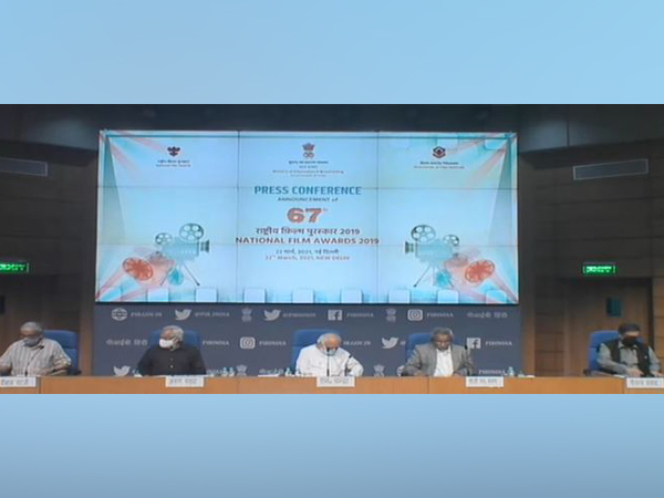 A still from the conference of announcement of 67th National Film Awards