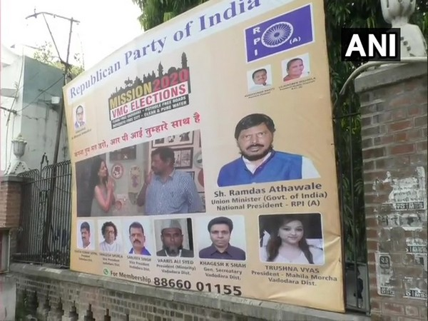 Poster put up by RPI workers in Vadodara. (Photo/ANI)