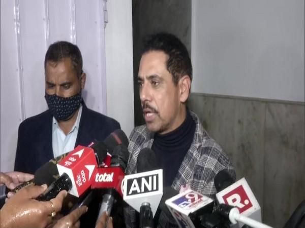 Robert Vadra speaking to reporters in New Delhi on Monday.