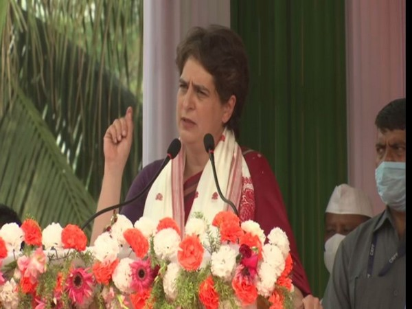 Congress leader Priyanka Gandhi Vadra during a a campaign rally in Assam's Jorhat (Photo/ ANI)