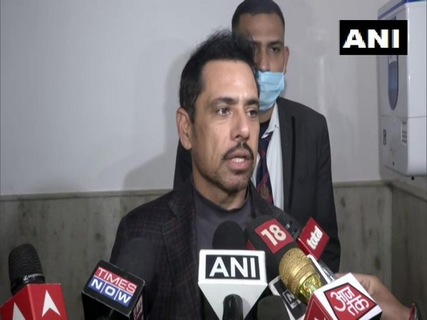 Robert Vadra, the son-in-law of Congress interim president Sonia Gandhi speaking to reporters on Tuesday. (Photo/ANI)