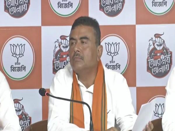 BJP leader Suvendu Adhikari speaking to the media on Sunday.