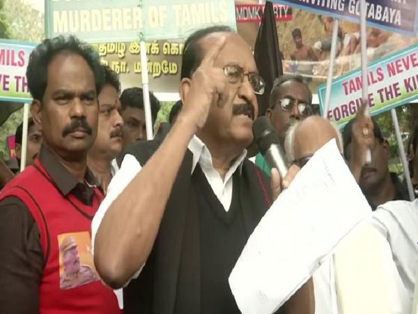 Rajya Sabha MP Vaiko addressing supporters during a protest against Sri Lankan President Gotabaya Rajapaksa's visit to New Delhi. Photo/ANI